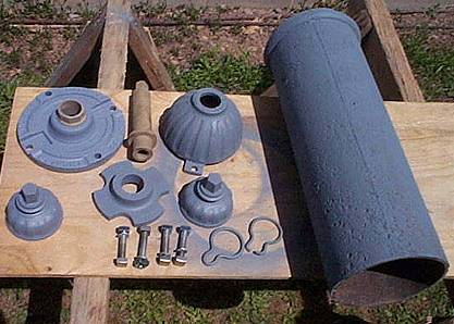 Photo of early Darling hydrant upper barrel components
